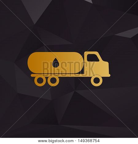 Car Transports Oil Sign. Golden Style On Background With Polygons.