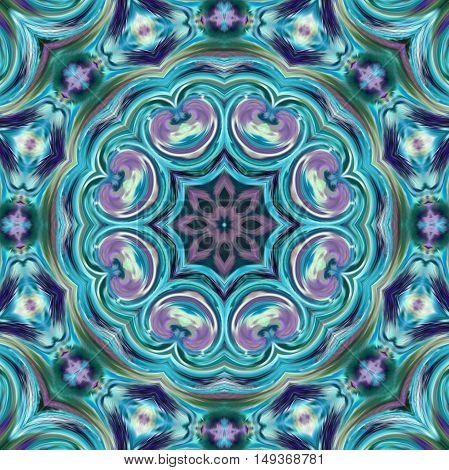 Folk ornamental textile seamless blue pattern background