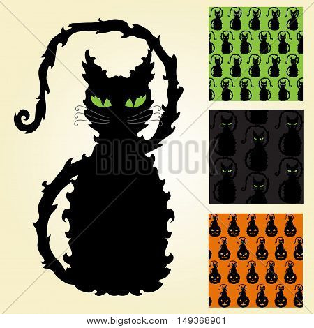 decorative black cat and 3 seamless patterns design elements