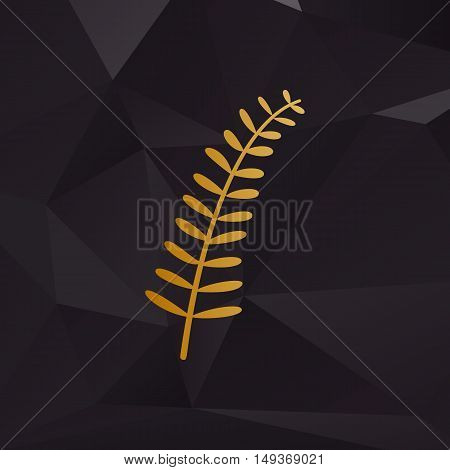 Olive Twig Sign. Golden Style On Background With Polygons.