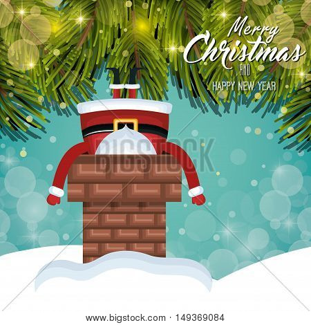 card christmas santa stuck in chimney. tree shine. design graphic vector illustration