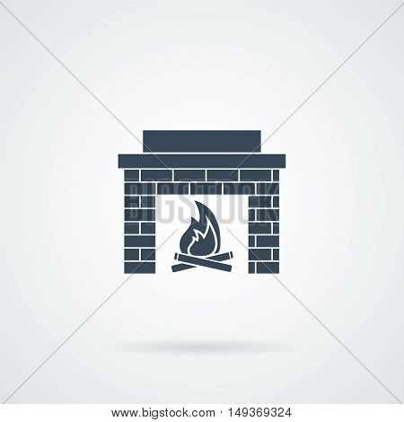 fireplace icon vector illustration with a shadow
