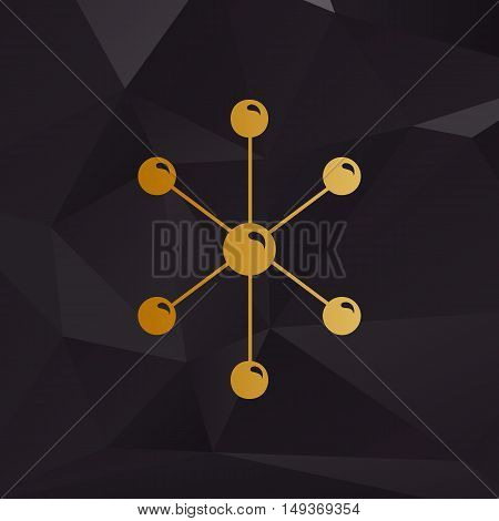 Molecule Sign Illustration. Golden Style On Background With Polygons.