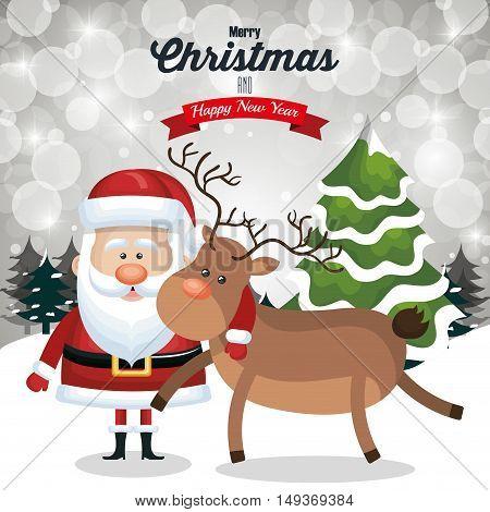christmas card santa and deer cute tree snow and landscape design vector illustraion