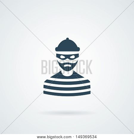 thief criminal prisioner person isolated vector illustration with a shadow
