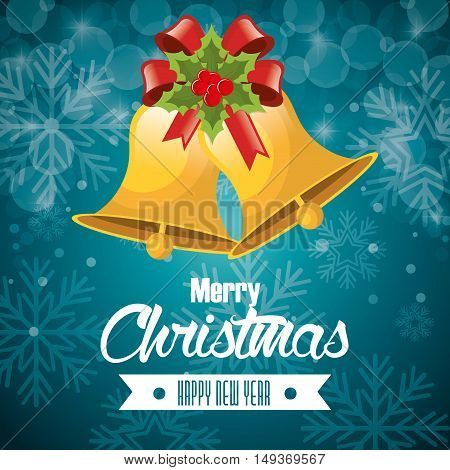 postcard merry christmas and happy new year bell and red bow vector illustration