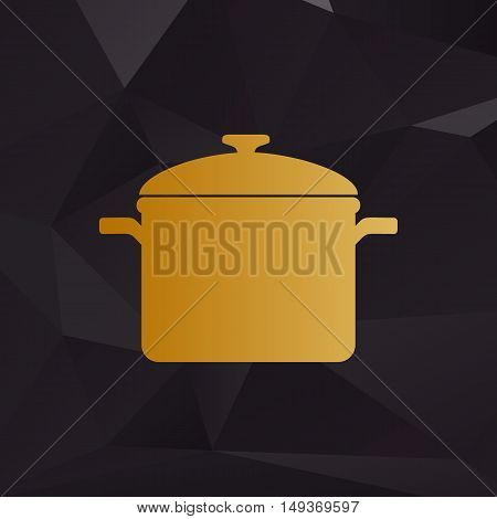 Cooking Pan Sign. Golden Style On Background With Polygons.
