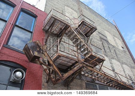A fire escape in downtown Traverse City, Michigan