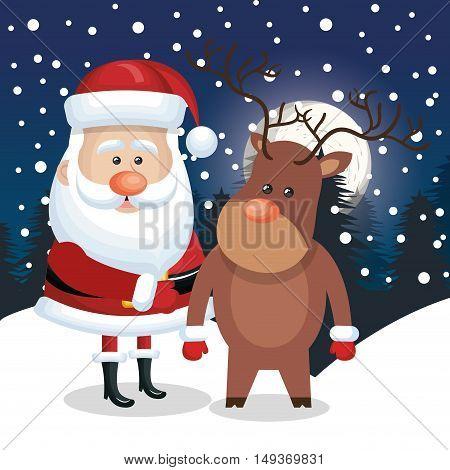santa claus deer landscape night, snowfall design vector illustration