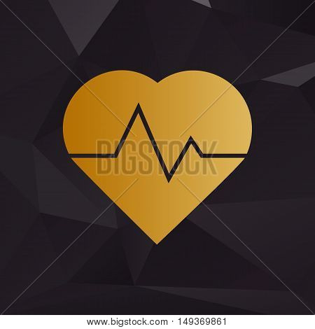 Heartbeat Sign Illustration. Golden Style On Background With Polygons.