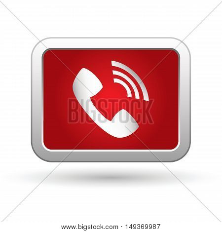 Telephone receiver icon on button. Vector illustration