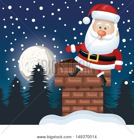 santa sitting on chimney. landscape night design vector illustration
