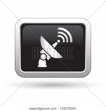 Satellite icon on the button. Vector illustration