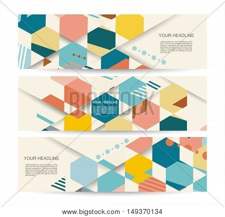 Vector Banners With Abstract Vintage Polygonal Hexagon Background.