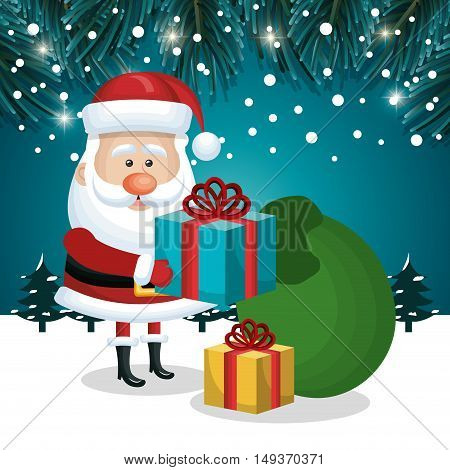 santa claus gifts and green bag design with snowfall vector illustration