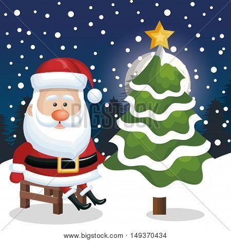 santa claus sit chair with tree snow snowfall design vector illustration