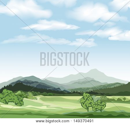 Rural landscape with mountains. Vector countryside view with forest field and hills