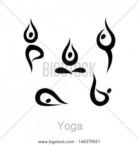 Set with various poses of yoga. Yoga exercises.  Design for Yoga class, yoga center, yoga studio, yoga logo. Vector set of yoga illustration.