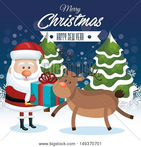 merry christmas and happy new year. santa reindeer with gift and tree snowfall vector illustration