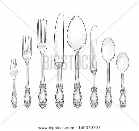 Table setting set. Fork Knife Spoon sketch set. Cutlery hand drawing collection. Catering engraved vector illustration. Restraunt service. Banquet still life
