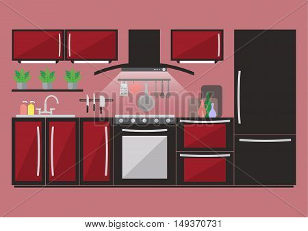Kitchen with furniture, plants and kitchenware. Flat style vector illustration