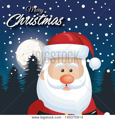 cute face santa claus card merry christmas landscape snaowfall vector illustration
