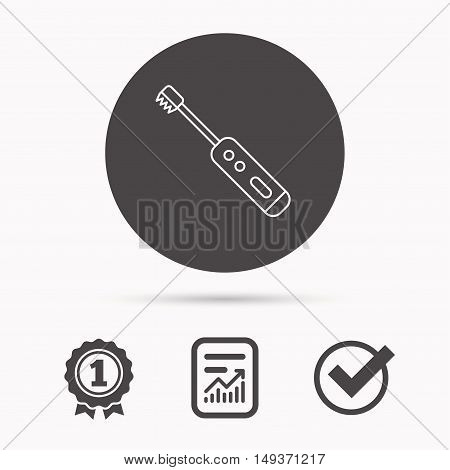 Electric toothbrush icon. Tooth cleaning sign. Report document, winner award and tick. Round circle button with icon. Vector