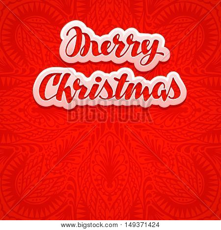 Beautiful text, lettering Merry Christmas red color background. Greeting card vector