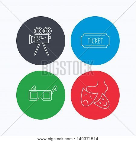 Ticket, video camera and theater masks icons. 3d glasses linear sign. Linear icons on colored buttons. Flat web symbols. Vector