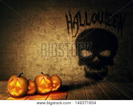 Lot of pumpkins jack-o'-lantern casting a shadow shaped as a skull. Surreal Halloween celebration concept.