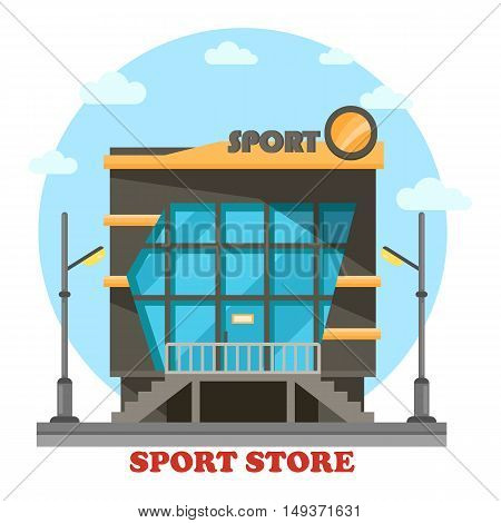 Sport shop or store for equipment or accessories. Facade of building or construction for sportswear cloth or gear, fashion outlet and activity or athletic outfit. Outdoor exterior view