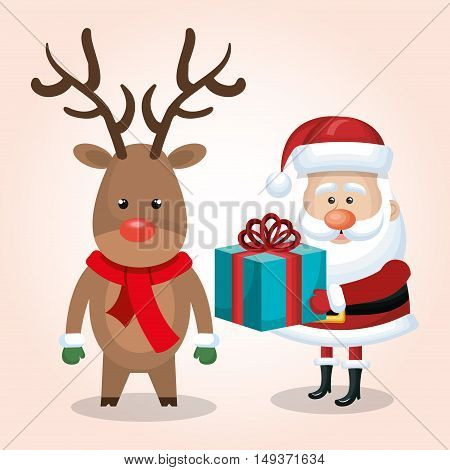 xmas card santa claus reindeer with gift blue isolated vector illustration
