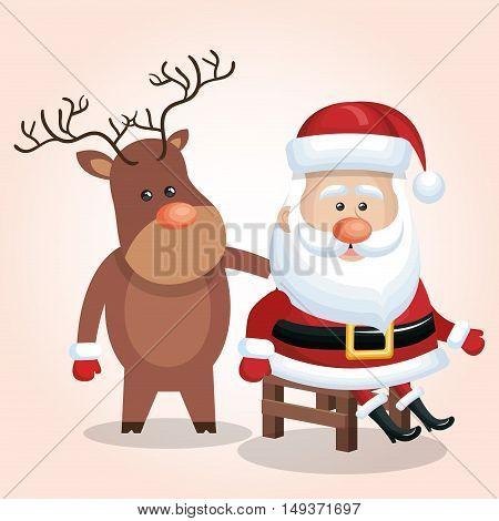 card cute santa claus sit reindeer isolated vector illustration