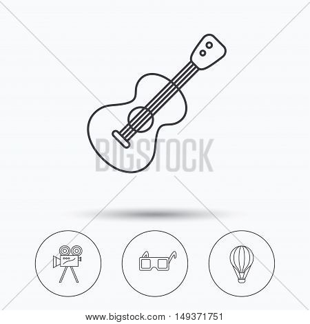 Guitar music, 3d glasses and air balloon icons. Video camera linear sign. Linear icons in circle buttons. Flat web symbols. Vector