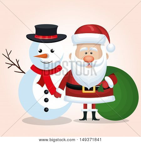merry christmas snowman and santa claus bag gift green isolated vector illustration