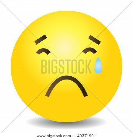 Vector Single Yellow Emoticon - Crying Face