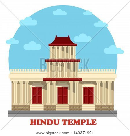 Hindu temple or mandir facade exterior view. Structures for hinduism or religion, worship or pray in asia including nepal and india, vietnam and cambodia. Great for religious and architecture theme