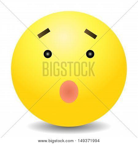 Vector Single Yellow Emoticon - Surprised Face