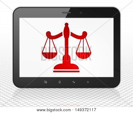 Law concept: Tablet Pc Computer with red Scales icon on display, 3D rendering