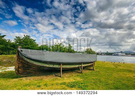 Ancient old viking boat near Fram Museum, Oslo