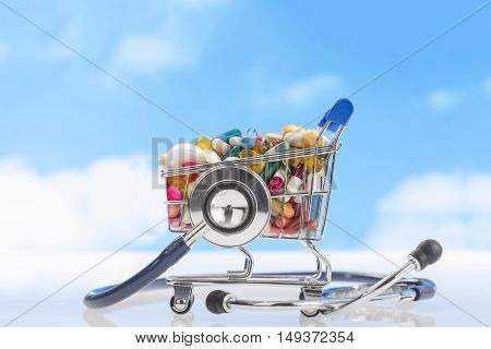 Shopping trolley with pills medicine and stethoscope.