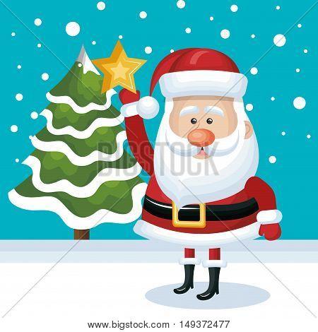 placing santa claus star tree. snowfall blue background vector illustration