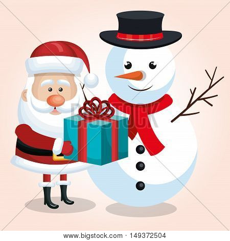 happy snowman and snta claus with blue gift ribbon isolated vector illustration