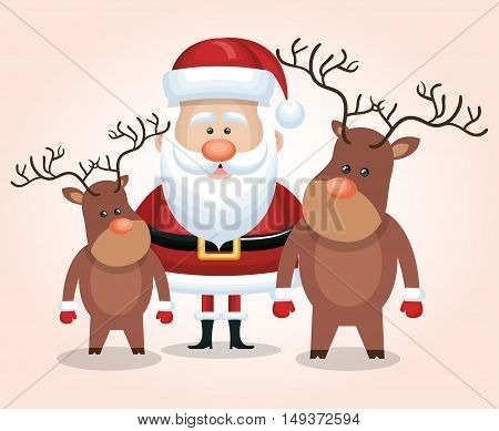 card santa claus reindeer isolated graphic vector illustration
