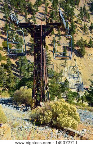 Chairlift at a ski resort during summer taken in Mt Baldy, CA
