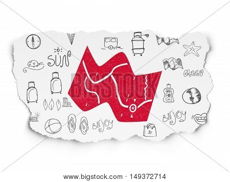 Travel concept: Painted red Map icon on Torn Paper background with  Hand Drawn Vacation Icons