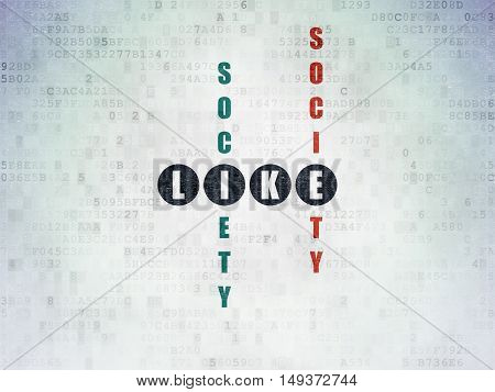 Social media concept: Painted black word Like in solving Crossword Puzzle on Digital Data Paper background
