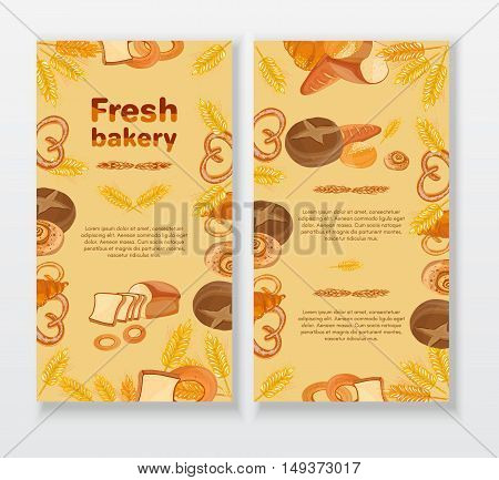 Bakery cafe menu design template. Bread cake bakery products. Cover design of bakery menu.