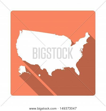 Vector United States Map Button. Long Shadow Style United States Map Square Icon Isolated On White B