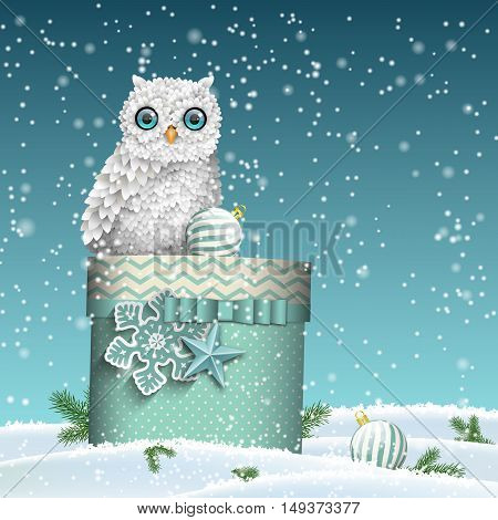 Christmas theme, cute white owl sitting on large blue gift box in winter snowy landscape, vector illustration, eps 10 with transparency